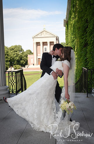 Brian & Sarah pose for a formal photo following their June 2018 wedding ceremony at the College of the Holy Cross in Worcester, Massachusetts.