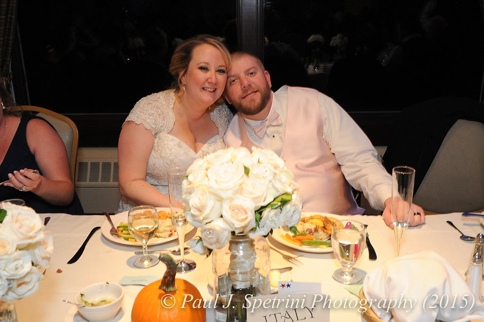 Kerry and Adam smile for a photo at their fall wedding at Quidnessett Country Club in North Kingstown, Rhode Island on October 23rd, 2015.