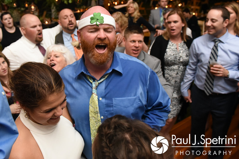 Molly and Tim party during their June 2017 wedding reception at Farmhouse-By-The-Sea in Matunuck, Rhode Island.