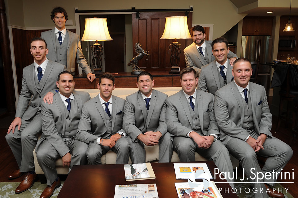 DJ and his groomsmen pose for a photo prior to his June 2016 wedding ceremony at St. Thomas More Church in Narragansett, Rhode Island.
