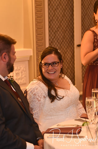 Katie smiles during her October 2018 wedding reception at The Villa at Ridder Country Club in East Bridgewater, Massachusetts.