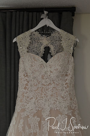 A look at Courtney's wedding dress, on display prior to her September 2018 wedding ceremony at St. Paul Church in Cranston, Rhode Island.