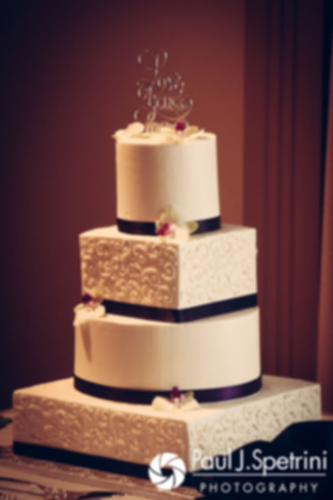 A look at Jeffrey and Clarissa's wedding cake, on display during their June 2017 wedding reception at Twelve Acres in Smithfield, Rhode Island.