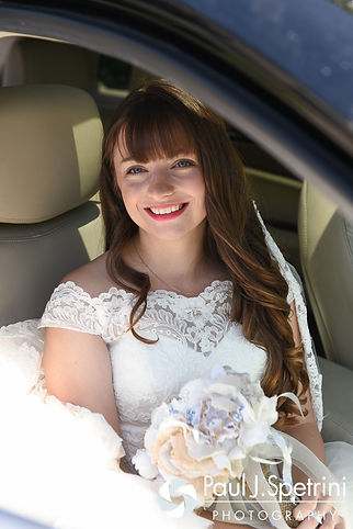 Krystal sits in a car prior to her May 2016 wedding at Colt State Park in Bristol, Rhode Island.