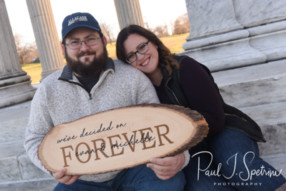 Michelle and Evan pose for their Roger Williams Park engagement photos in Providence, Rhode Island in December 2018.