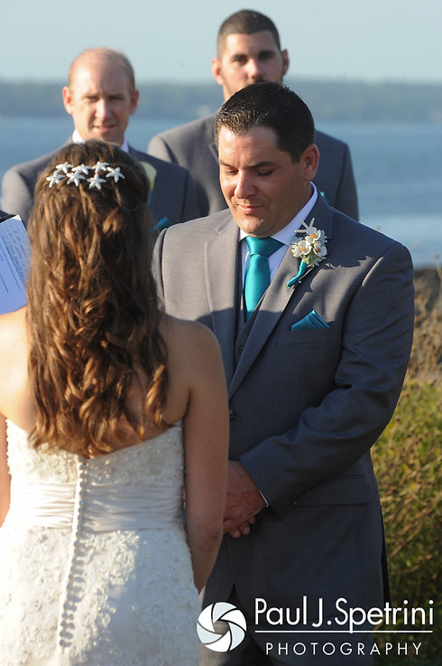 Paul listens to the officiant during during his September 2016 wedding ceremony at Beavertail Lighthouse in Jamestown, Rhode Island.