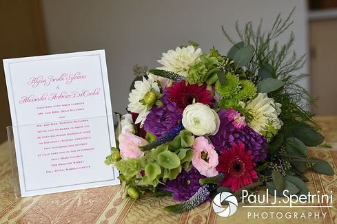 A look at the wedding invitation and Alyssa's bouquet prior to her August 2016 wedding ceremony at Holy Name Church in Fall River, Massachusetts.