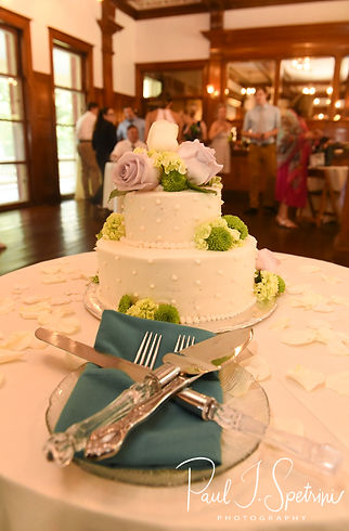 A look at the wedding cake, on display during Danielle & Mark's August 2018 wedding reception at the Roger Williams Park Casino in Providence, Rhode Island.
