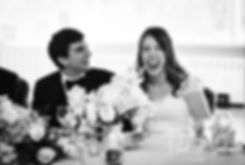 Brian and Sarah react to the maid of honor's speech during their June 2018 wedding reception at Pleasant Valley Country Club in Sutton, Massachusetts.