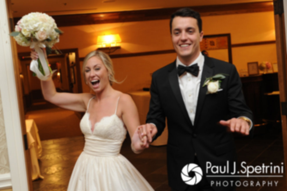 Laura and Laki are introduced during their September 2017 wedding reception at Lake of Isles Golf Club in North Stonington, Connecticut.