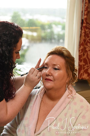 Patti has her makeup done prior to her August 2018 wedding ceremony at the Walter J. Dempsey Memorial Bandstand in Norwood, Massachusetts.