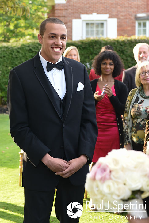 Arten looks at Stephany during his September 2017 wedding ceremony at Wannamoisett Country Club in Rumford, Rhode Island.