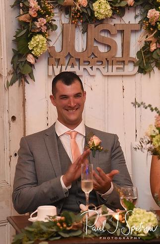 Justin claps during his November 2018 wedding reception at Five Bridge Inn in Rehoboth, Massachusetts.