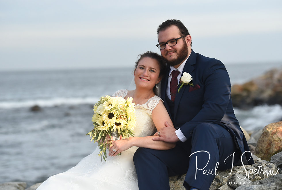 Rob & Allie pose for a formal photo prior to their October 2018 wedding reception at The Towers in Narragansett, Rhode Island.