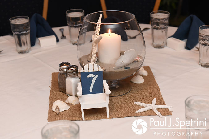 A look at the centerpieces prior to Jennifer and Robert's September 2017 wedding reception at Oceanside at the Pier in Narragansett, Rhode Island.