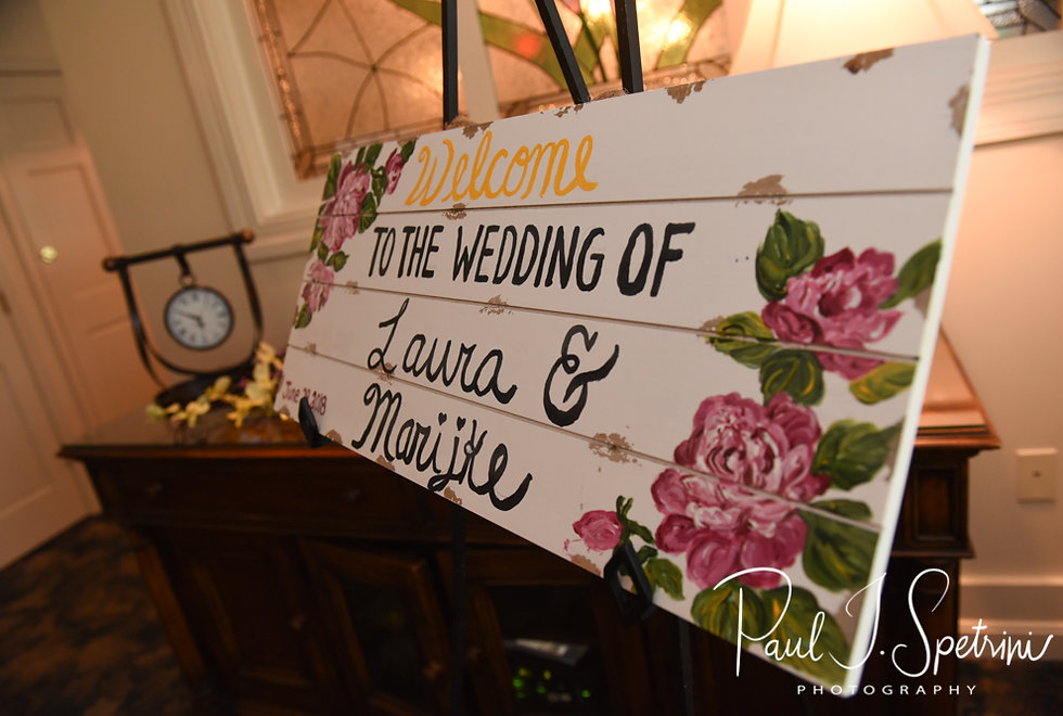 A sign welcomes guests prior to Laura & Marijke's June 2018 wedding ceremony at Independence Harbor in Assonet, Massachusetts.