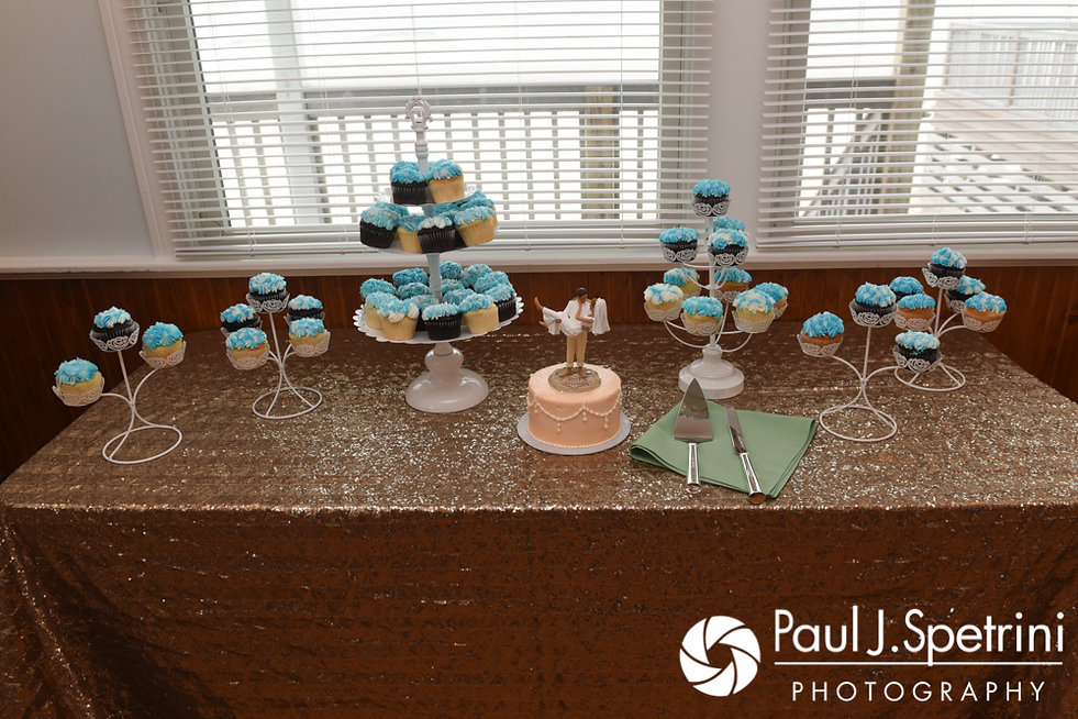 A look at the dessert table prior to Arielle and Gary's September 2017 wedding reception at North Beach Club House in Narragansett, Rhode Island.
