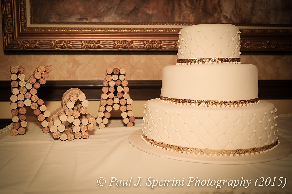 A look at Kerry and Adam's wedding cake at their fall wedding at Quidnessett Country Club in North Kingstown, Rhode Island on October 23rd, 2015.