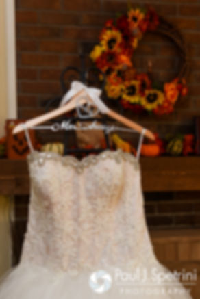 A look at Stephanie's wedding dress prior to her October 2016 wedding ceremony at the Historic St. Joseph Church in Cumberland, Rhode Island.