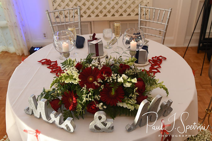 A look at the sweetheart table during Jimmy & Saken's July 2018 wedding reception at Lake Pearl in Wrentham, Massachusetts.