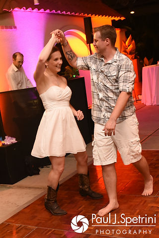 Will and Jess dance during their May 2017 wedding reception at the Roger Williams Park Botanical Center in Providence, Rhode Island.
