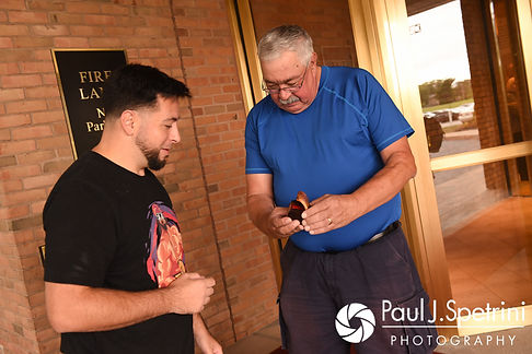 Dallas and his father-in-law share a moment prior to his September 2017 wedding ceremony at the Crowne Plaza Hotel in Warwick, Rhode Island.