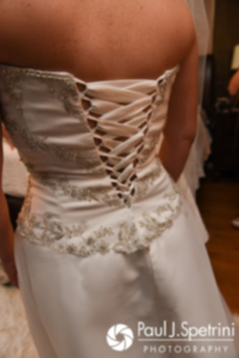 A look at the back of Rebecca's dress prior to her August 2017 wedding ceremony in Warwick, Rhode Island.