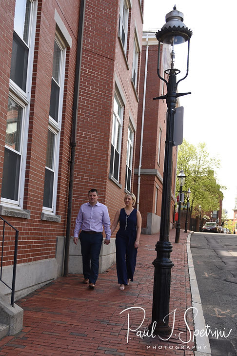 Meghan and Brian pose for a photo in the Charlestown neighborhood of Boston, Massachusetts during their May 2018 engagement session.