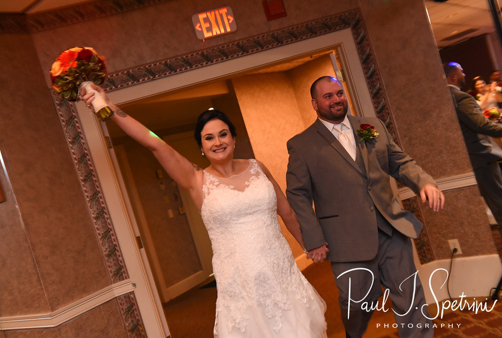 Justine and Jon are introduced for the first time as husband and wife during their October 2018 wedding reception at Twelve Acres in Smithfield, Rhode Island.