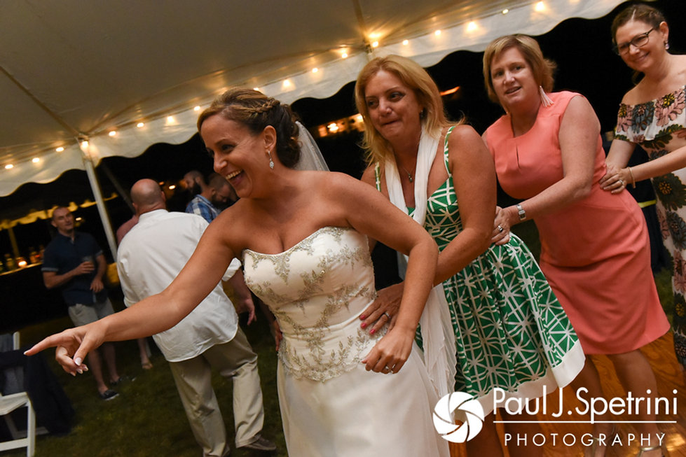 Rebecca leads a conga line during her August 2017 wedding reception in Warwick, Rhode Island.