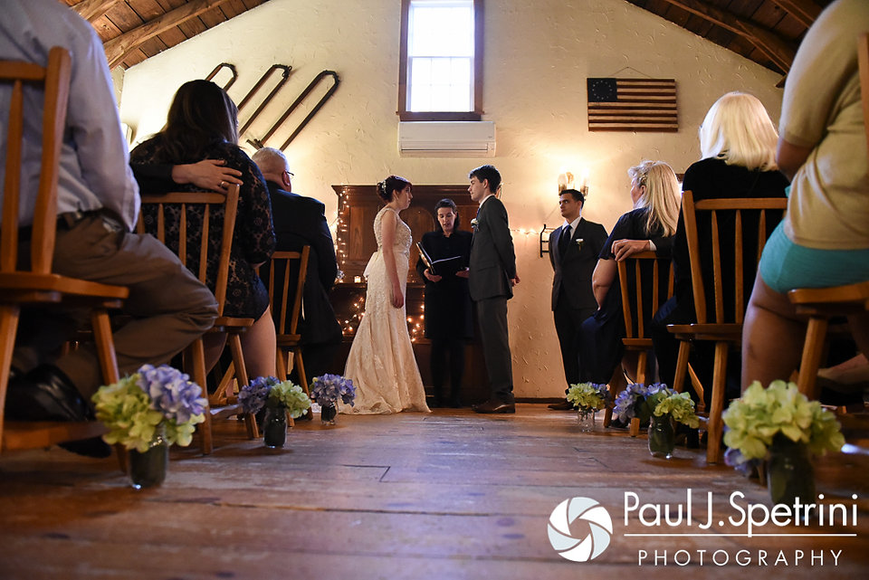 Ellen and Jeremy stand in front of their friends and family members during their May 2016 wedding at Bittersweet Farm in Westport, Massachusetts.