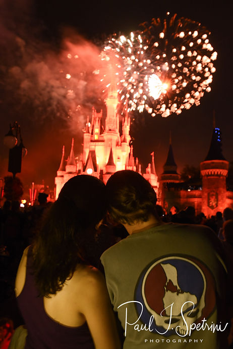 Amanda and Josh watch the fireworks a day prior to their October 2018 wedding ceremony at the Walt Disney World Swan & Dolphin Resort in Lake Buena Vista, Florida.