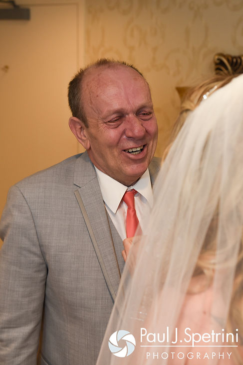 Michelle's father sees her in her wedding dress for the first time prior to her May 2016 wedding at Hillside Country Club in Rehoboth, Massachusetts.