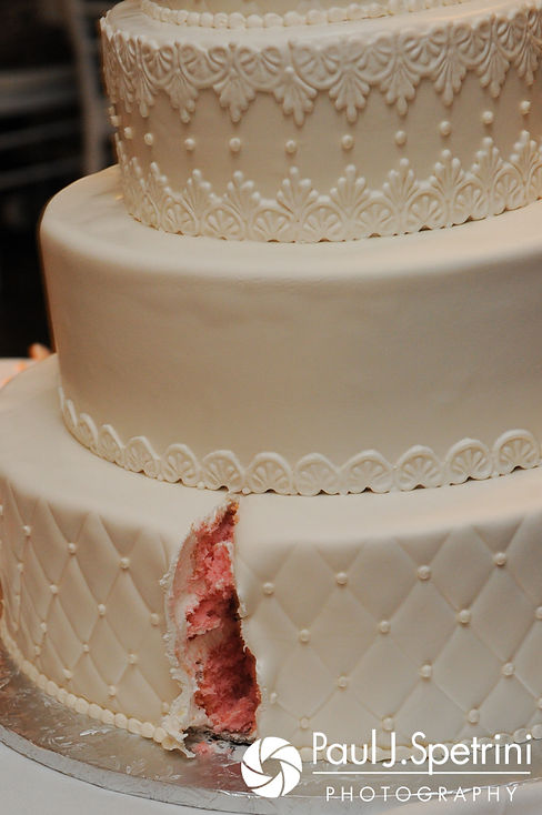 A look at Nashua and Nader's cake during their July 2017 wedding reception at Belle Mer in Newport, Rhode Island.