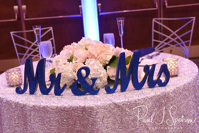 A look at the sweetheart table prior to Sarah & Anthony's October 2018 wedding reception at The Omni Hotel in Providence, Rhode Island.
