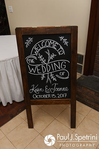 A look at a sign at the entrance of Kevin and Joanna's October 2017 wedding reception at Cranston Country Club in Cranston, Rhode Island.