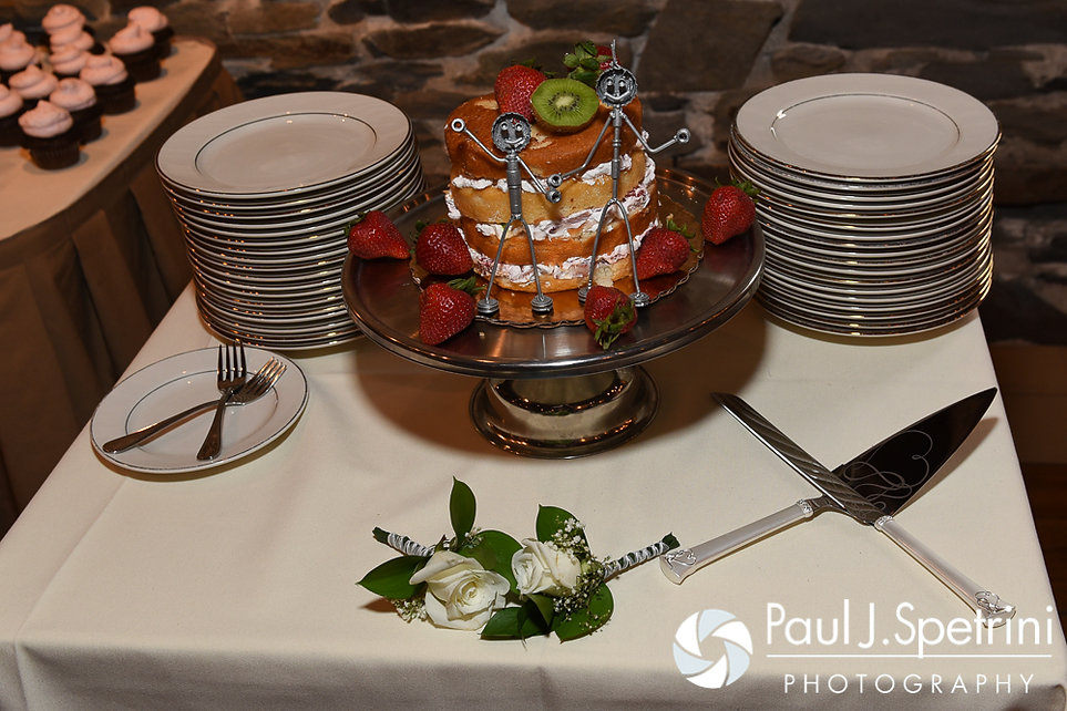 A look at the cake for Krystal and Ian's May 2016 wedding reception at DeWolf Tavern in Bristol, Rhode Island.