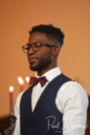 Richardson smiles during his August 2018 wedding ceremony at Glad Tidings Church in Quincy, Massachusetts.