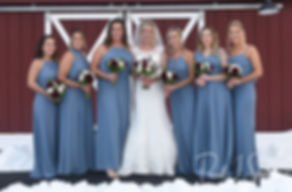 Nicole poses for a photo with her bridesmaids prior to her November 2018 wedding ceremony at the Publick House Historic Inn in Sturbridge, Massachusetts.