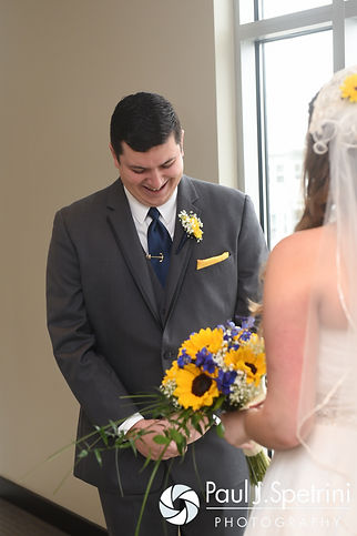 Chris reacts to seeing Kristin prior to their October 2016 wedding ceremony at Exeter Congregational Church in Exeter, New Hampshire.