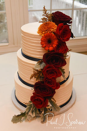 A look at the cake during Chris & Stephanni's October 2018 wedding reception at Rachel's Lakeside in Dartmouth, Massachusetts.