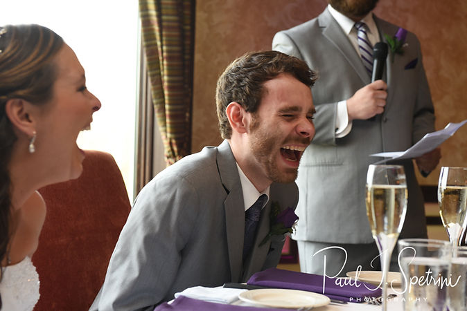 Sam laughs at a toast during his April 2018 wedding reception at Quidnessett Country Club in North Kingstown, Rhode Island.