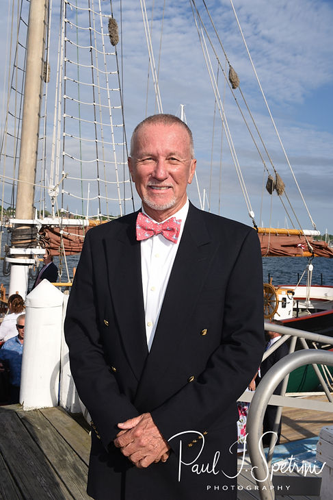 Mike smiles for a photo prior to his May 2018 wedding ceremony aboard the Schooner Aurora boat in the waters off Newport, Rhode Island.