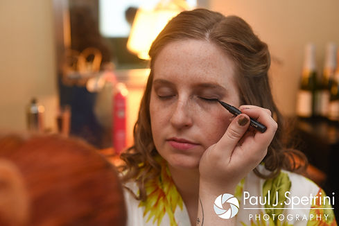 Kristin has her makeup applied prior to her October 2016 wedding ceremony at Exeter Congregational Church in Exeter, New Hampshire.