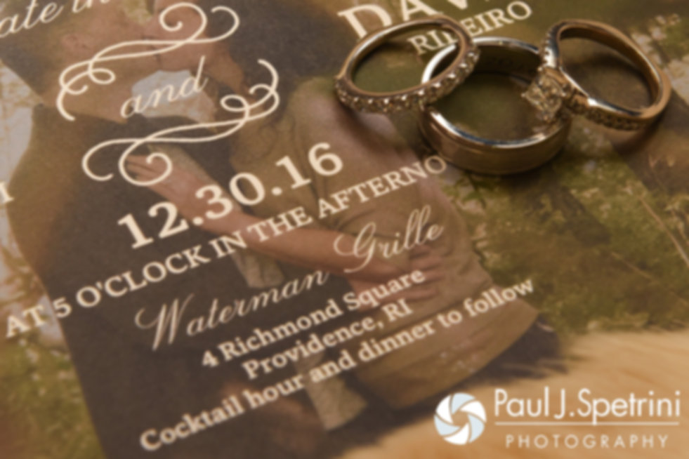 A look at Gina and David's wedding rings, on display during their December 2016 wedding ceremony at the Waterman Grille in Providence, Rhode Island.