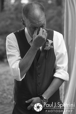 Scott gets emotional as he sees Toni during his August 2017 wedding ceremony at Crystal Lake Golf Club in Mapleville, Rhode Island.