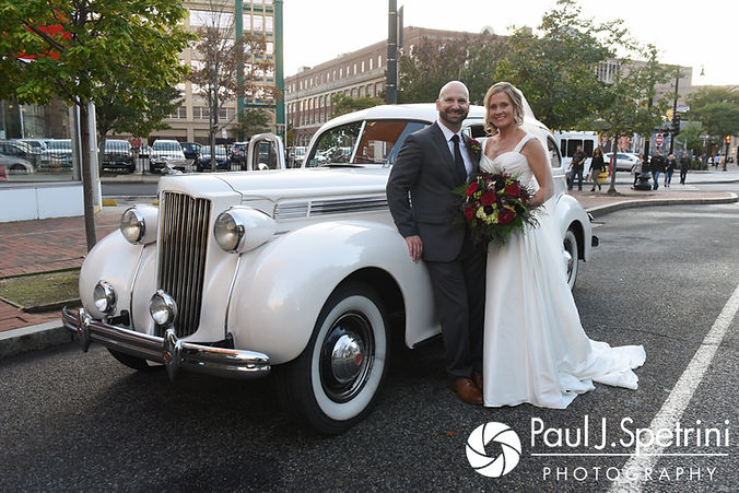 Tricia and Kevin pose for a formal photo prior to their October 2017 wedding reception at the Providence Biltmore in Providence, Rhode Island.