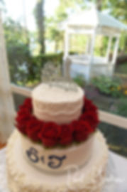 A look at the wedding cake during Jimmy & Saken's July 2018 wedding reception at Lake Pearl in Wrentham, Massachusetts.