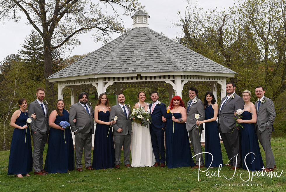 Ali and Gary pose for a photo with members of their wedding party prior to their May 2018 wedding ceremony at the Roger Williams Park Botanical Center in Providence, Rhode Island.