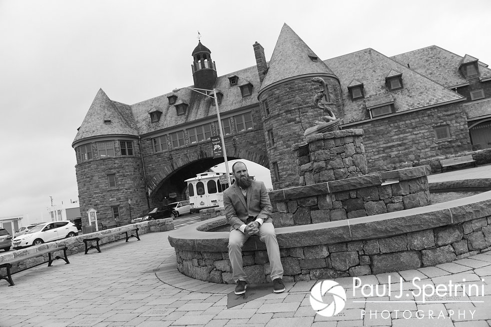 Gary waits for Arielle to arrive for their first look prior to his September 2017 wedding ceremony at North Beach Club House in Narragansett, Rhode Island.